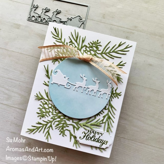 By Su Mohr for GDP 305; Featuring: Giving Gifts Dies, Christmas Pinecone Dies, Layering Circles Dies, Organdy Stripe Ribbon, Poinsettia Petals Stamp Set; #christmascards #holidaycards #holiday2021 #christmaspinecone #giftgiving #poinsettiapetals #handmadecards #handcrafted #diy #cardmaking #papercrafting #ornaments #santa #treeornaments #christmasornaments #sumohr #aromasandart.com/shop #stampinup #stamping