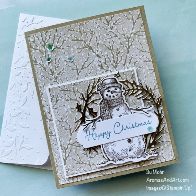 By Su Mohr for GDP 314; Click aromasandart.com to go to my website for details! Featuring: Snow Wonder Stamp Set, Snow Time Dies, Harvest Meadow Designer Paper, Meadow Moments Embossing Folder, Seasonal Swirls Dies; #seasonalswirls #harvestmeadow #meadowmoments #snowwonder #snowtime #snomen #snowmenoncards #christmascards #holidaycards #holiday2021 #handmadecards #handcrafted #diy #cardmaking #papercrafting #stamping #stampinup #gdp314