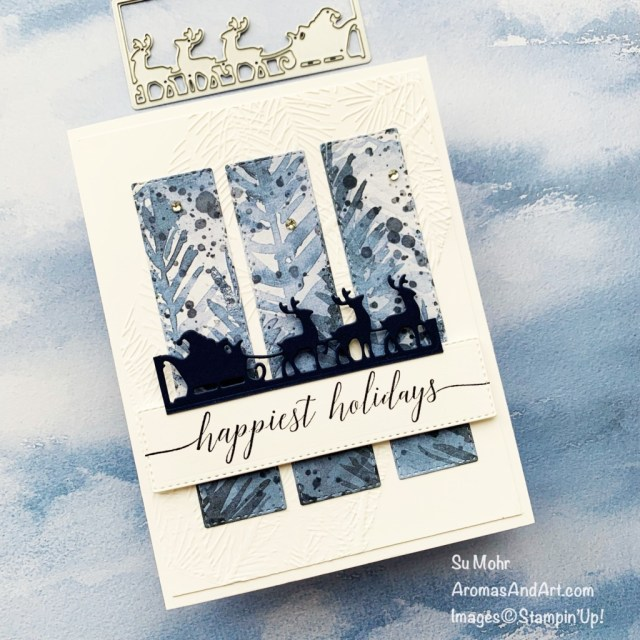 By Su Mohr for TGIF; Click aromasandart.com to go to my website for details! Featuring: Giving Gifts Dies, Beauty of the Earth Designer Paper, Heartfelt Wishes Stamp Set, Ornate Layers Dies, Wintry Embossing Folders; #beautyoftheearth #heartfeltwishes #givinggiftsdies #ornatelayers #wintryembossing #santa #santaoncards #santaandhisreindeer #christmascards #holidaycards #holiday2021 #handmadecards #handcrafted #diy #cardmaking #papercrafting #stamping #stampinup #sumohr #aromasandart.com/shop