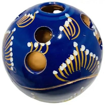 donker blauw, handbeschilderd, blauw, bolletje, sierpotje, ceramicas, decojar,