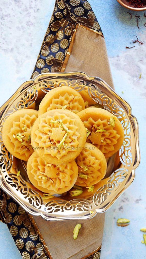 Kesar pedas (Saffron infused Indian milk fudge)