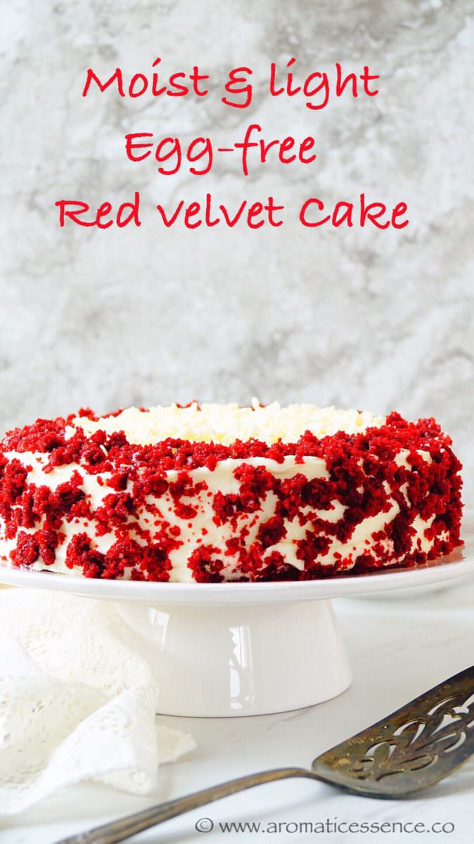 Egg-free Red velvet cake | Eggless Red velvet cake with cream cheese frosting