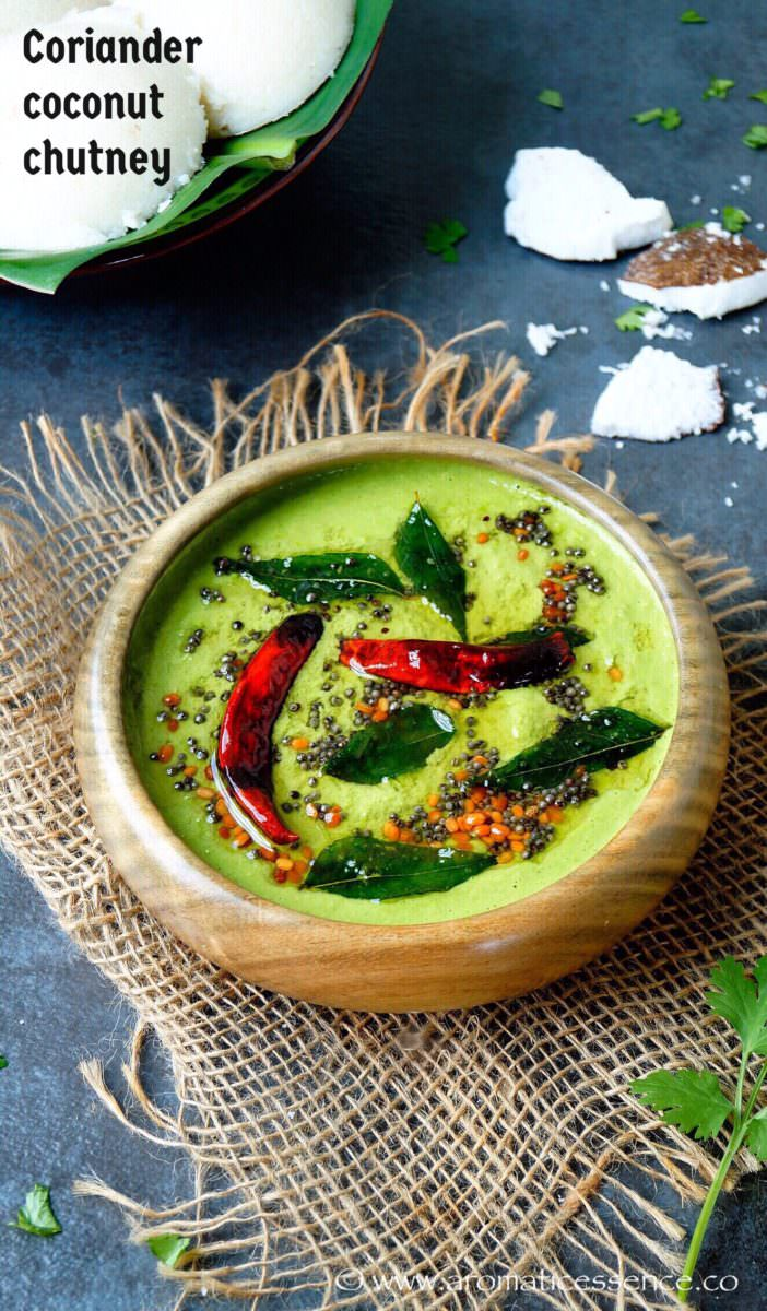 Coriander coconut chutney | Green coconut chutney recipe for idli/dosa/uttapam