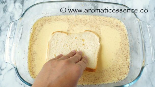 Quickly dip the bread into the mixture