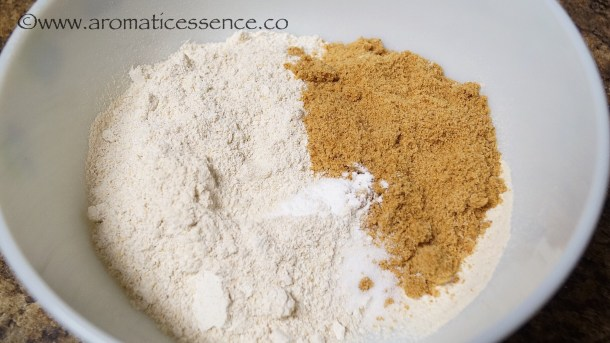 Sift the whole wheat flour and baking soda. Add powdered oats, jaggery powder,and salt.