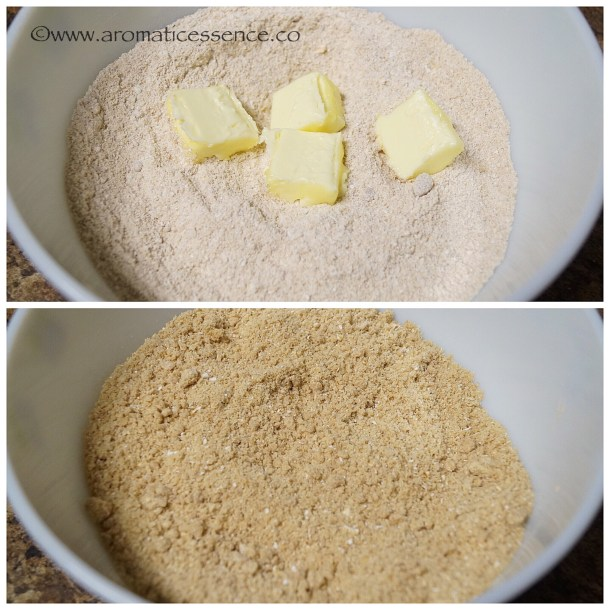 Addbutter, work the butter into the flour with your fingertips