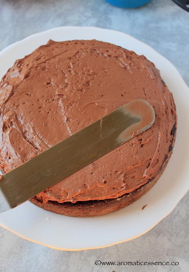 smooth out the chocolate frosting