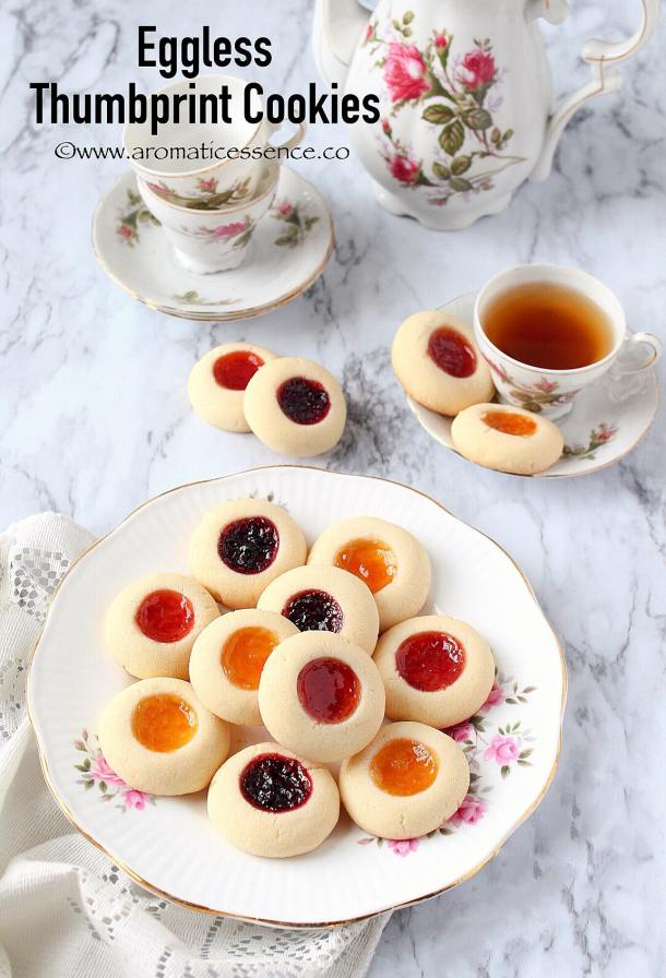 Eggless Thumbprint Cookies | Shortbread Thumbprint Cookies | Rosenmunnar