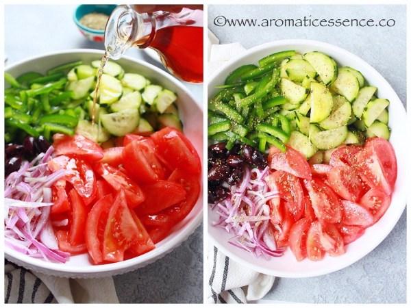 Adding red wine vinegar and oregano to veggies