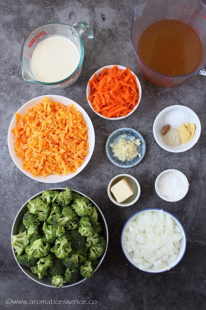 Ingredients for pressure cooker broccoli cheese soup.