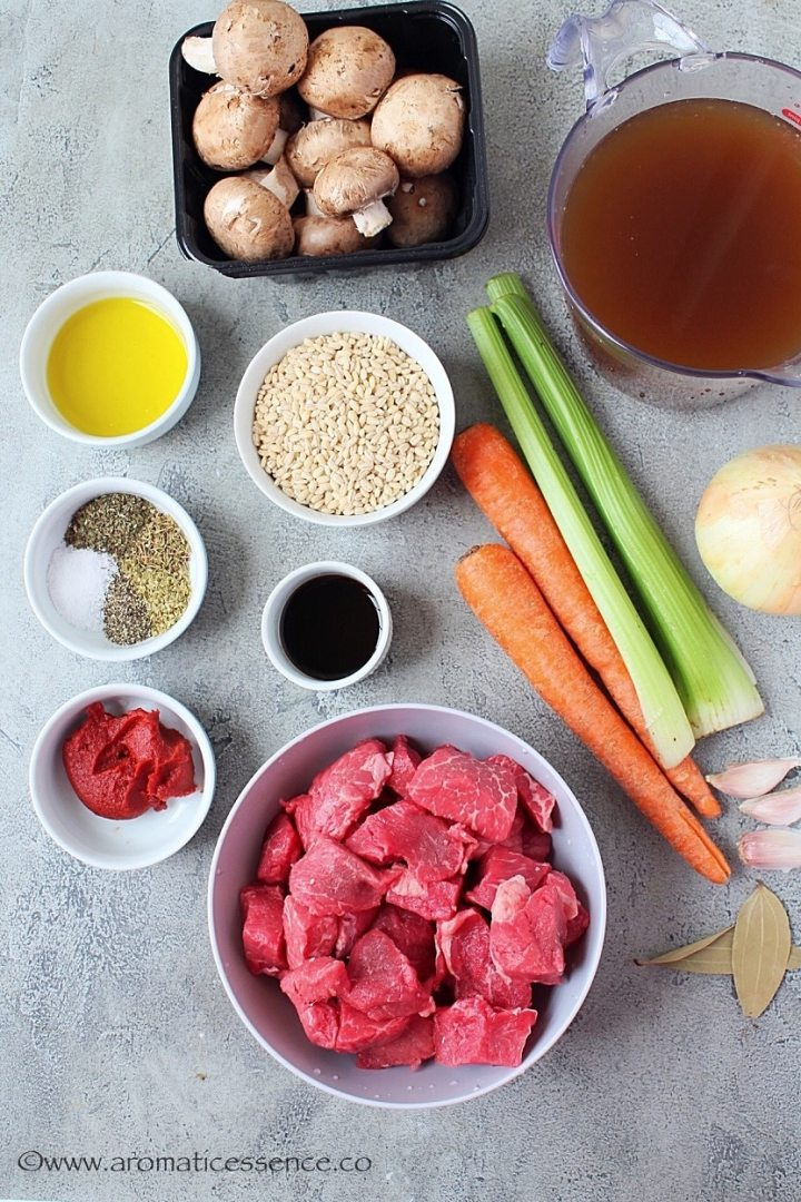 Ingredients for pressure cooker beef barley soup