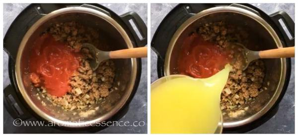 Add tomato sauce and chicken stock