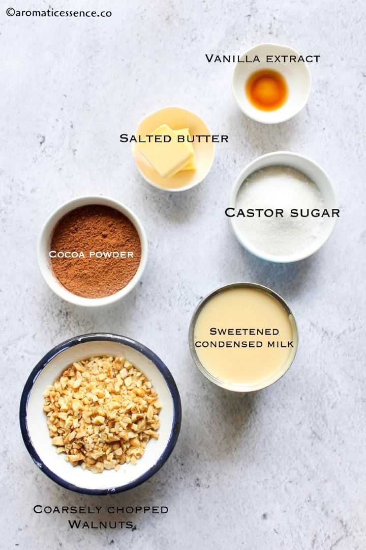 Ingredients needed for the fudge