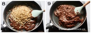 Add walnuts, cook until the mixture leaves the sides of the pan