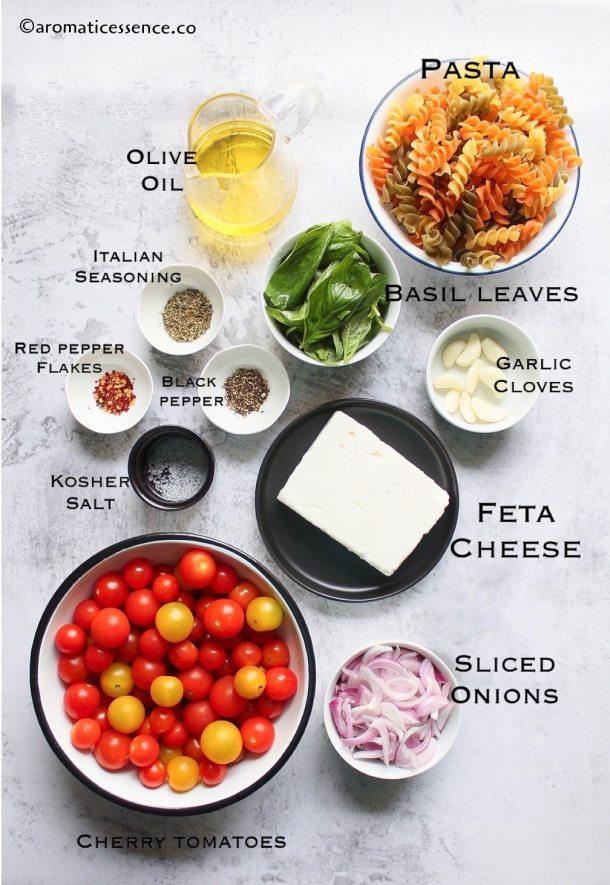Ingredients for uunifetapasta