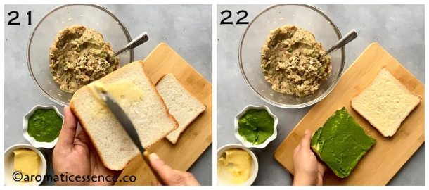 Butter and green chutney applied to bread slices