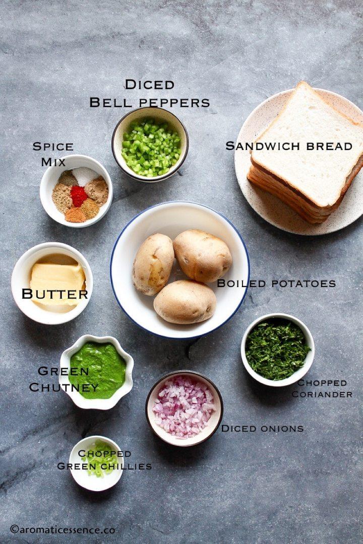 Ingredients for potato sandwich