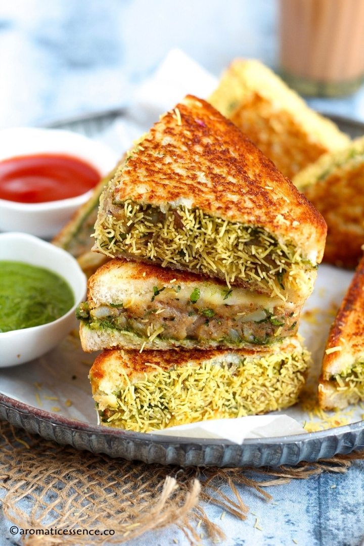 Stack of aloo toast sandwiches