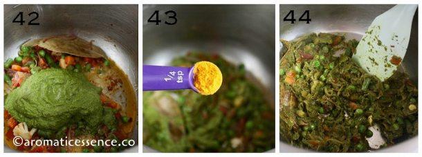 Saute mint paste along with turmeric