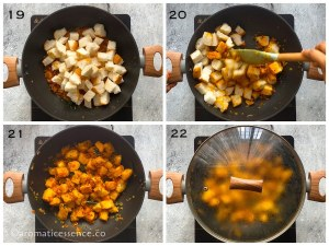 Bread cubes added to the onion tomato masala