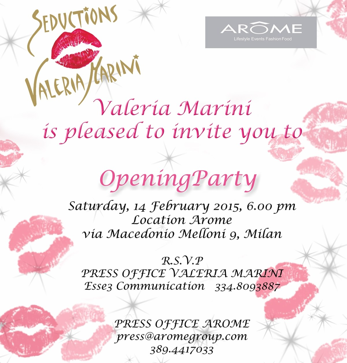"Arôme presenta ""Seduction Valeria Marini""."