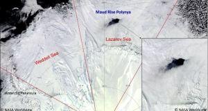 Le trou dans la banquise au large de la côte antarctique a été repéré par un satellite de la NASA le 25 septembre 2017.