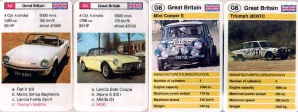 "Couple of cars from an early ""Sports Car"" pack - the Spitfire looks good (and notice the price of £1689?), but isn't that an MGC and not an MGB??"