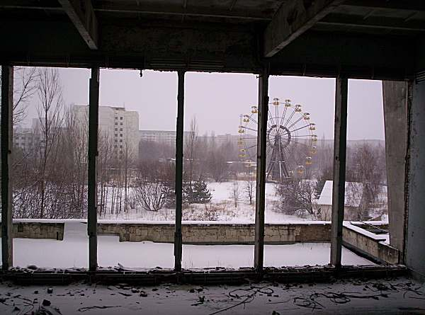 Pripyat's famous ferris wheel as viewed from inside the Palace of Culture...