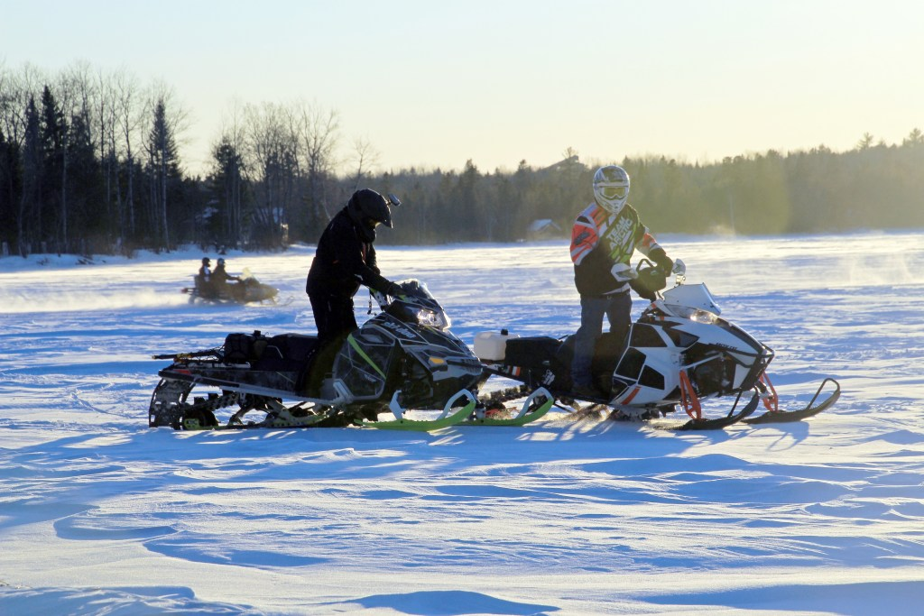 Portage lake  sundown snowmobilers
