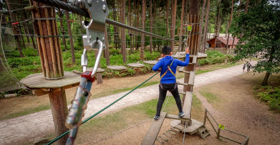 Go Ape - Shivam bravely crossing