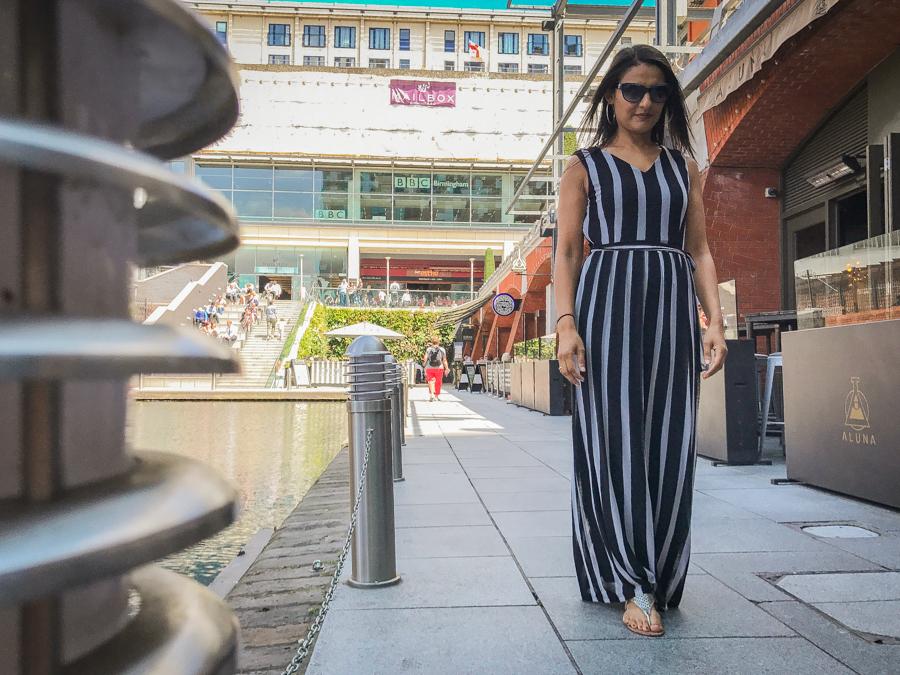 Summer Season - Grey & Black Stripe Maxi Dress