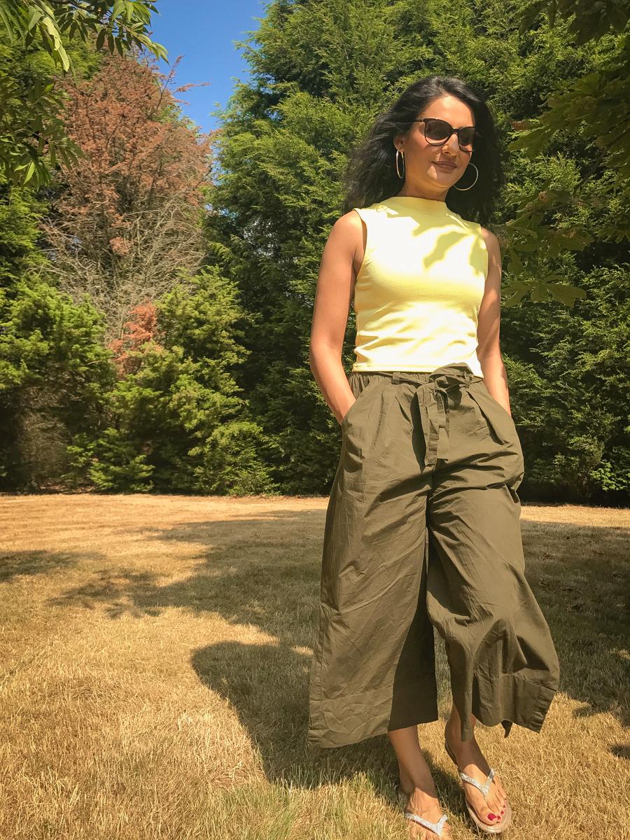 Summer Season - Yellow Crop Top & Khaki Culottes