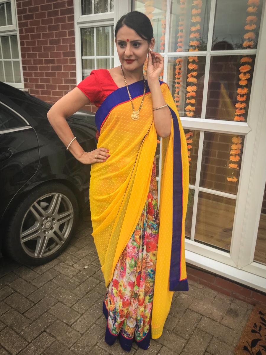 Wedding Season - Red & Yellow Floral Saree