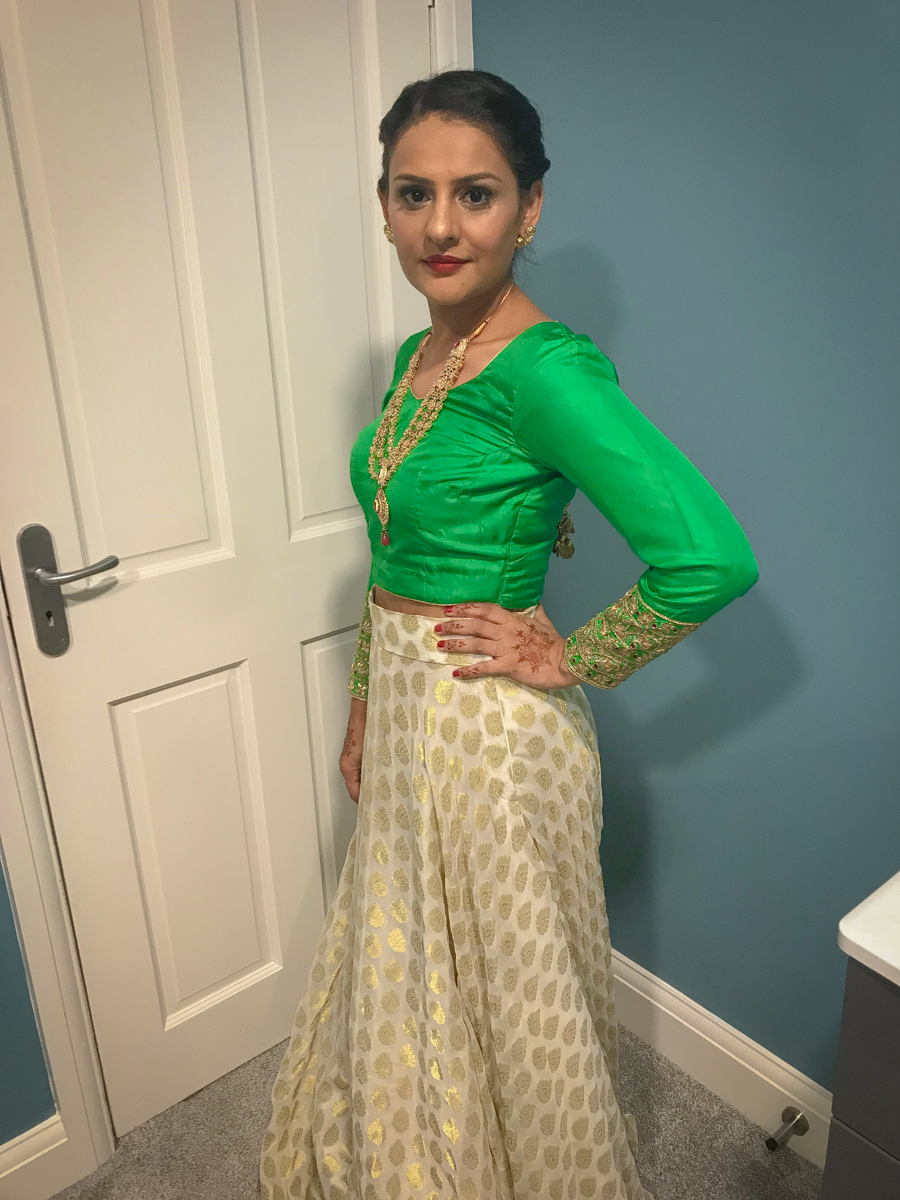Wedding Season - Green Top & White Skirt