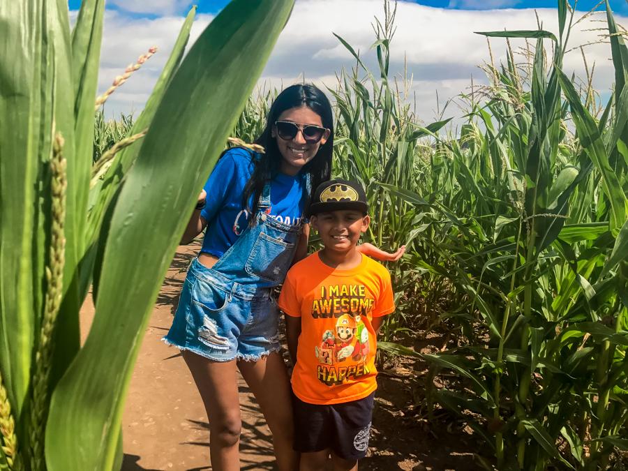 Shalini and Shivam in a maize maze