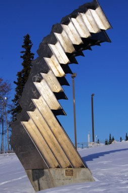 Artwork in front of UAF Museum of the North