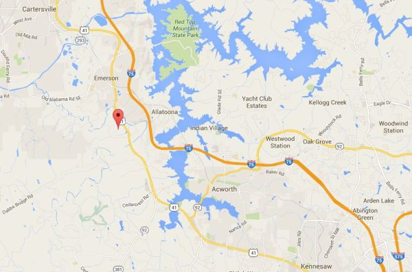 Cartersville GA Map Pumpkinvine Retreat Location