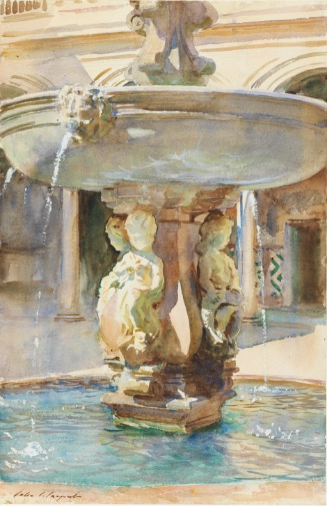The Spanish Fountain, 1912. Sargent, John Singer (American, 1856-1925). Graphite, watercolour and gouache on paper, height 533 mm, width 349 mm, 1912.