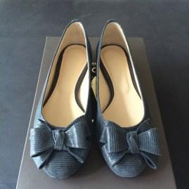 Grey Bow Ballerinas