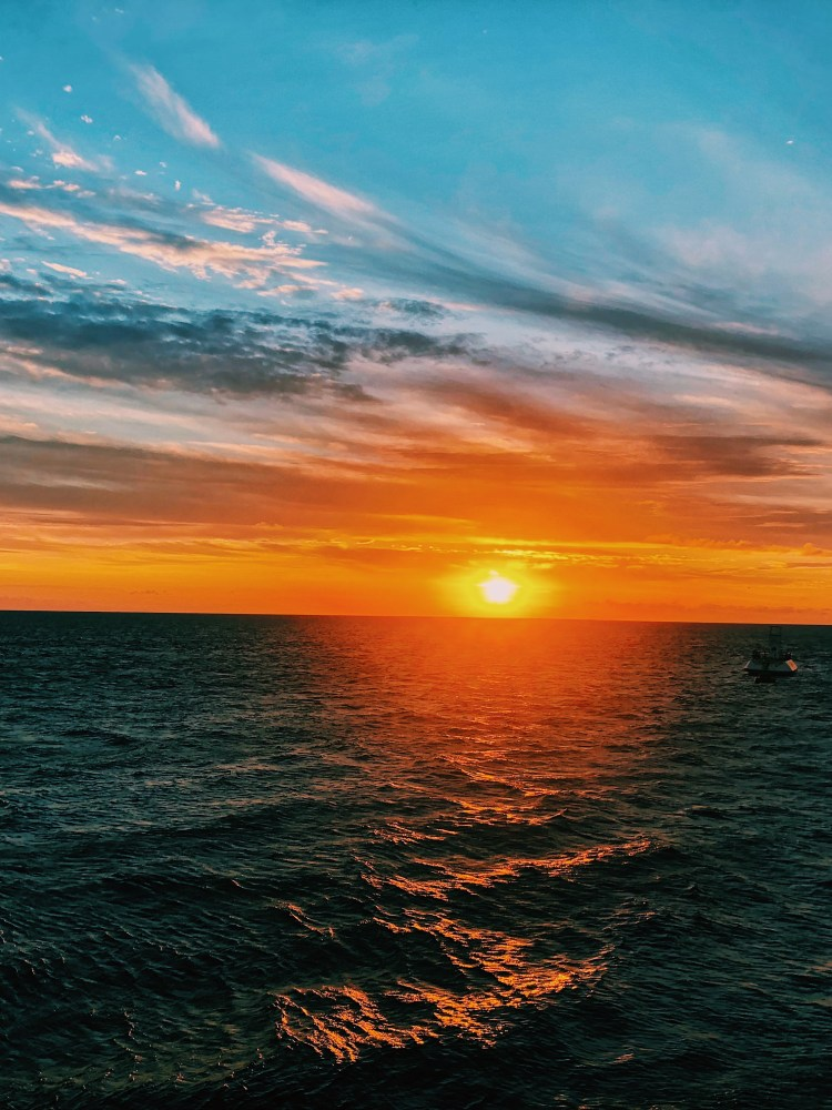 image of the sunset over The Great Barrier Reef.