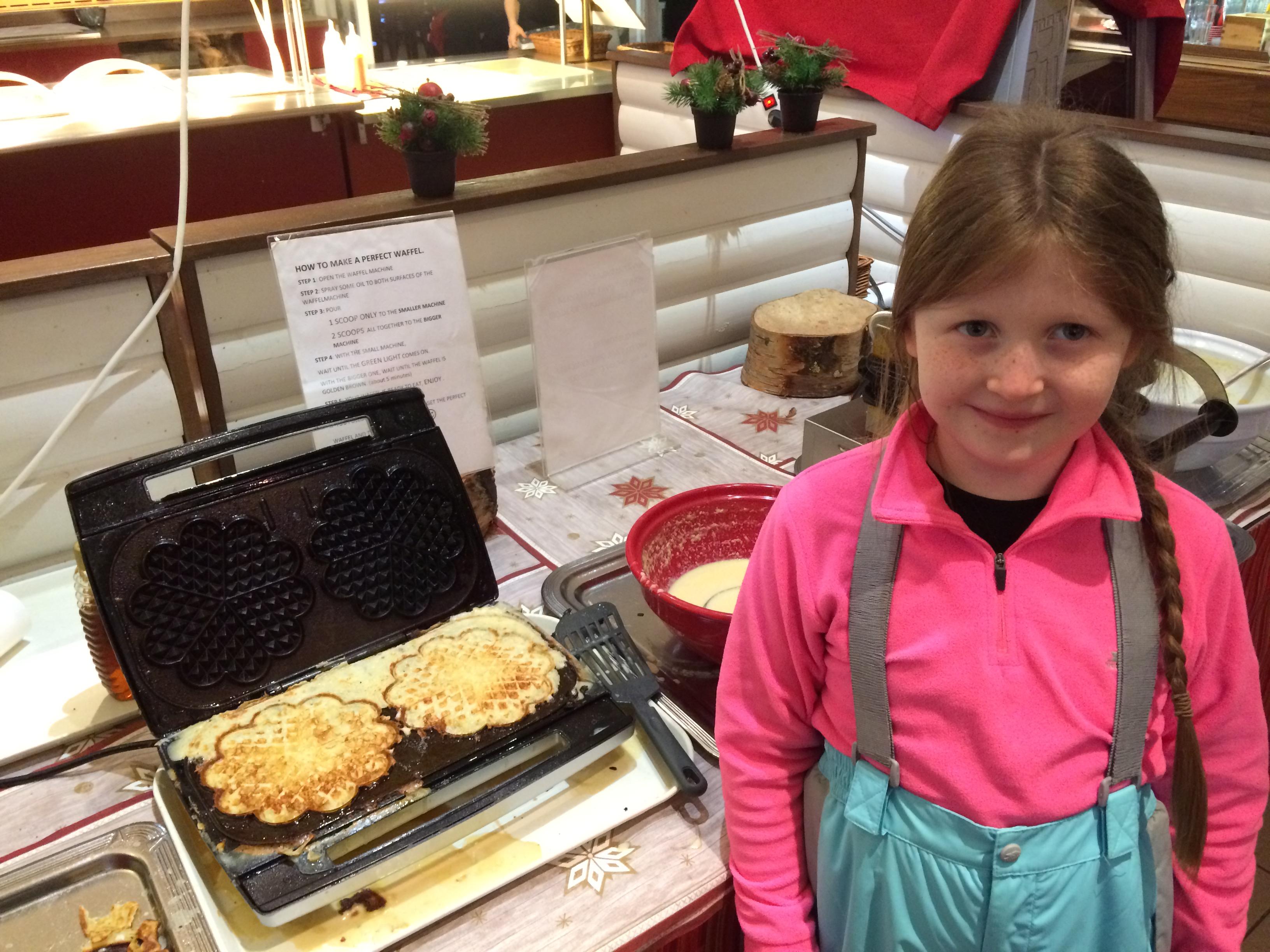 Breakfast waffles from the restaurant at Santa Claus Holiday Village in Rovaniemi, Finland