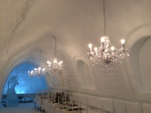 Crystal Chandeliers at the Ice Hotel in Rovaniemi, Lapland