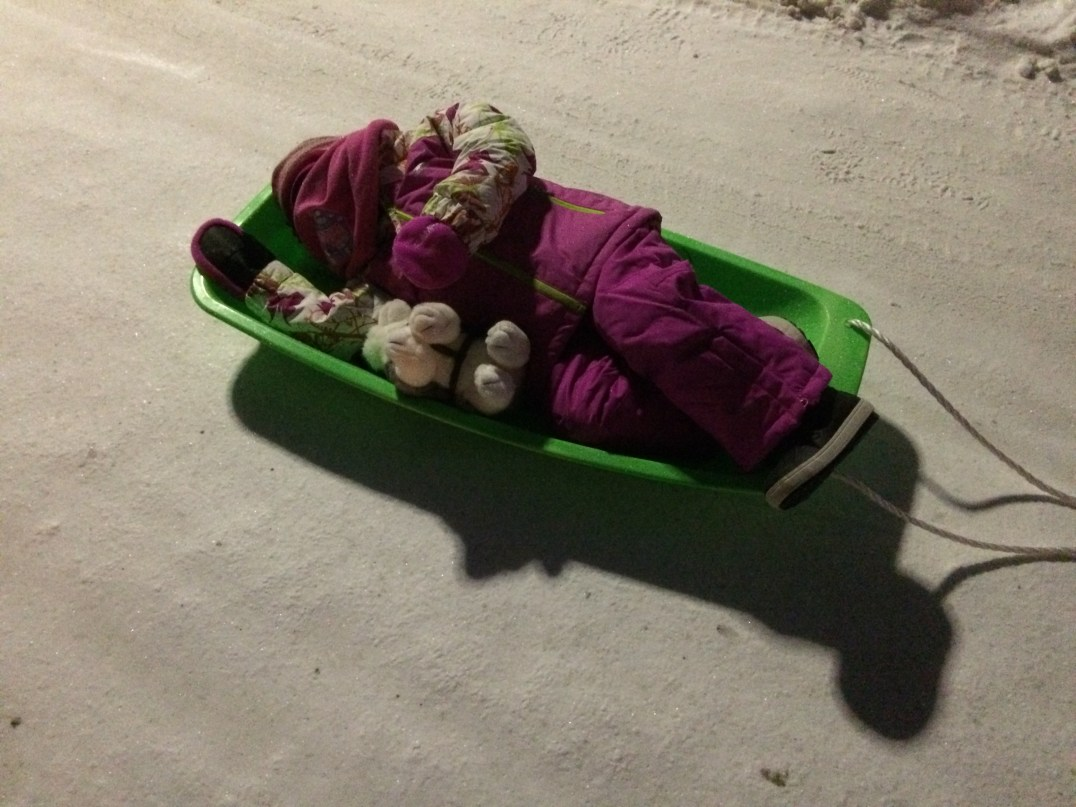 Taking a nap on a sledge at Santa Claus Village in Rovaniemi, Finland