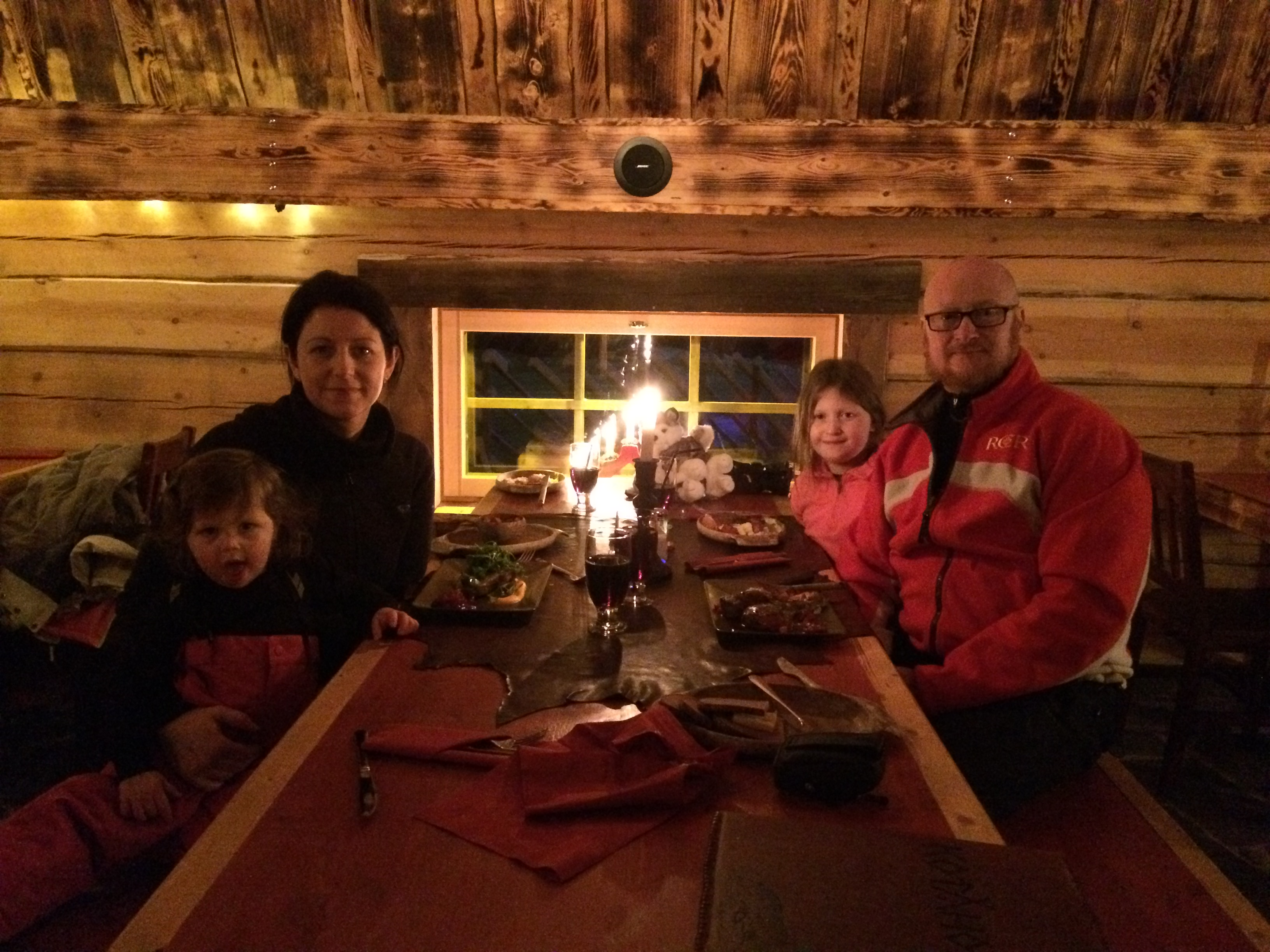 The Callaghan Possy wait to be fed at the Kotahovi Restaurant in Rovaniemi, Finnish Lapland
