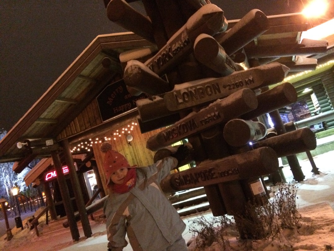 North Pole signpost at Santa Claus Village Rovaniemi, Finland