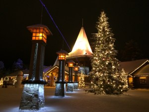 The Arctic Circle at Santa Claus Village in Rovaniemi, Finland
