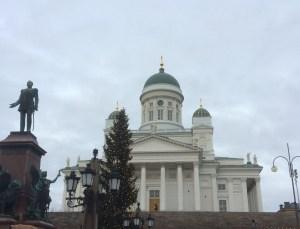 Tsar Alexandra II and Helsinki Cathedral in Senate Square, Helsinki