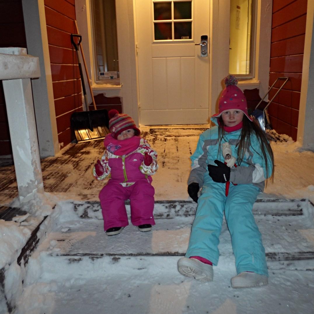 Chalet porch at Santa Claus Holiday Village in Rovaniemi, Finland