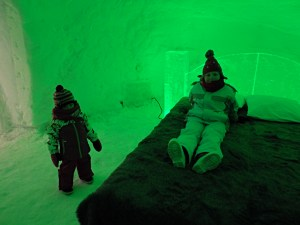Green room at the Ice Hotel in Rovaniemi, Lapland