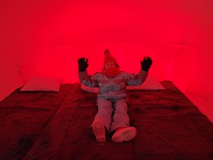 Red room at the Ice Hotel in Rovaniemi, Lapland